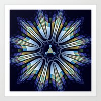 Art Prints featuring Retro design star in blue, gold, green and pink by thea walstra