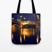 Nocturnal Lights on the river Spree in Berlin Tote Bag