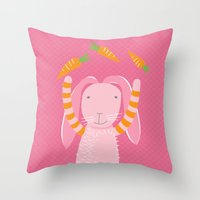 rabbits play with their food Throw Pillow