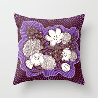 Placed Floral: Mauve Brown Throw Pillow