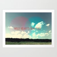 Wild hearts run free Art Print