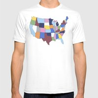USA Mens Fitted Tee White SMALL