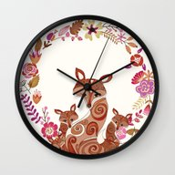 FOX & FLOWERS Wall Clock