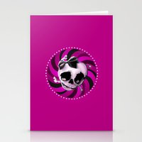 Girly Pink Skull With Bl… Stationery Cards