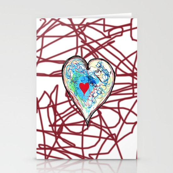 scribble heart Stationery Card