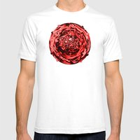 Red Swirl Topography Mens Fitted Tee White SMALL