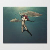 Shark Wrangler Canvas Print