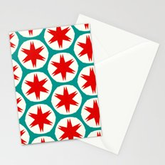 Retro Red Stars II Stationery Cards