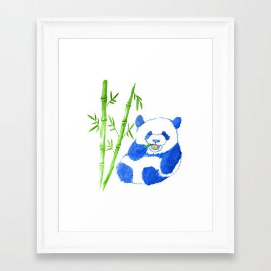 Panda eating bamboo Watercolor Print Framed Art Print