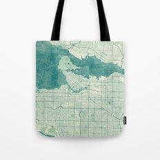 Vancouver Map Blue Vintage Tote Bag