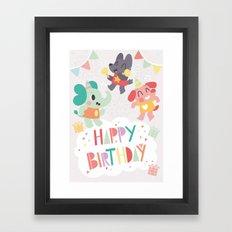 Happy Birthday Party Animals Framed Art Print