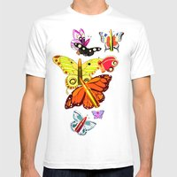 Bullet With Butterfly Wi… Mens Fitted Tee White SMALL