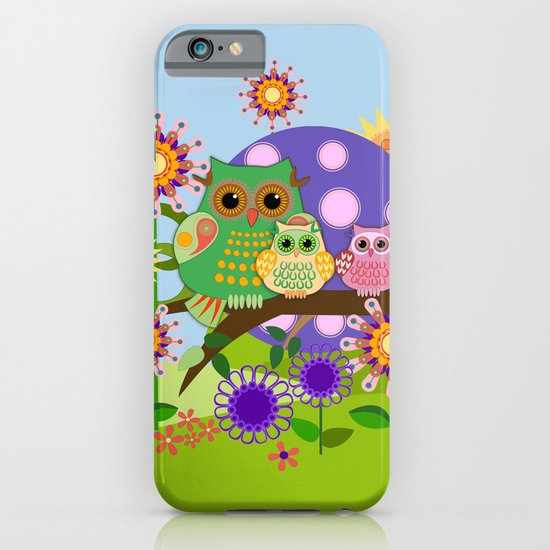 Owls, Flowers Fantasy design iPhone & iPod Case