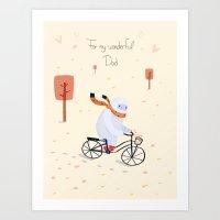 Yeti Bicycling Art Print