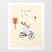 Yeti Bicycling Art Print