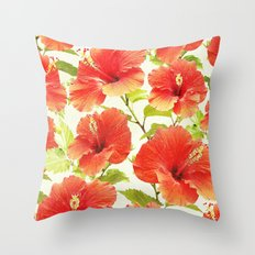 FLORAL PATTERN - HIBISCUS - Throw Pillow