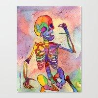 Rainbow Skeleton Canvas Print