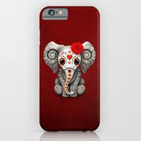 iPhone Cases featuring Deep Red Day of the Dead Sugar Skull Baby Elephant by Jeff Bartels