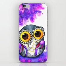 Owl in Purple Blossoms iPhone & iPod Skin