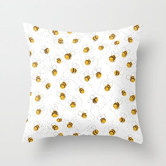 Busy buzzy bees Throw Pillow