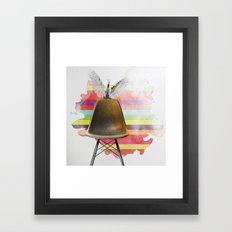 cockatoo on eames chair rainbow colours Framed Art Print