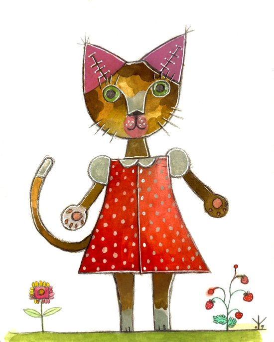Strawberry Kitty Cat Art Print