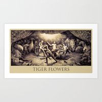 Tiger Flowers Art Print