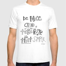 Nice + Risks = Happiness  Mens Fitted Tee SMALL White