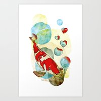 Koi Fish In Love Art Print