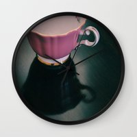 Pink Teacup Wall Clock