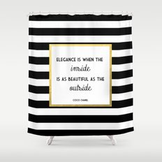Coco Gold Square Elegance Quote Shower Curtain