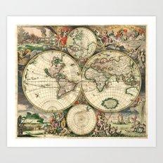 Old map of world hemispheres (enhanced) Art Print