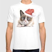 Grumpy Santa Cat Mens Fitted Tee White SMALL