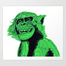 Green Bonobo Art Print