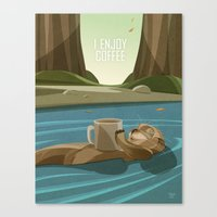 Otter enjoys Coffee Canvas Print