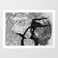 Battle With The Devil  / Original A4 Illustration / Pen & Ink Art Print