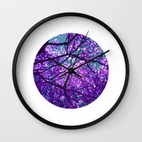 purple tree II Wall Clock