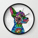 Folk Art Puppy Wall Clock