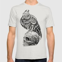 Red-Tail Skull Mens Fitted Tee Silver SMALL