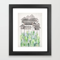 Framed Art Print featuring Stilts by David Fleck