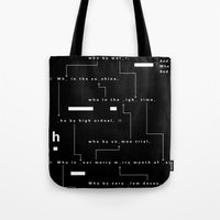 Who By Fire Tote Bag