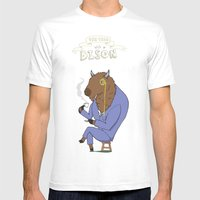 Tea Time with a Bison Mens Fitted Tee White SMALL