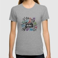 Daily Grind - White Womens Fitted Tee Athletic Grey SMALL