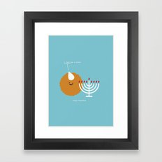I Love You a Latke. Happy Hanukkah Framed Art Print