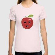 Kawaii Apple Womens Fitted Tee Light Pink SMALL