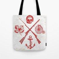 Skull Flower Rifle Bicyc… Tote Bag