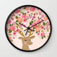 Love Deer Valentines day floral flower antlers Andrea Lauren  Wall Clock
