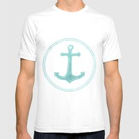 Anchors Away Mens Fitted Tee White SMALL