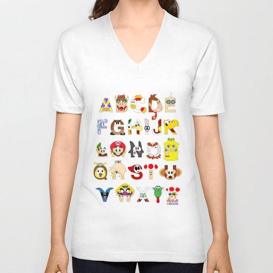 Super Mario Alphabet V-neck T-shirt