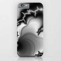 iPhone & iPod Case featuring Black and White Fractal 3 by Christy Leigh